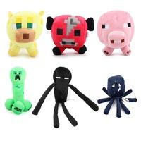 6pcs/set Genuine JJ dolls stuffed afraid of plush toys of my world Enderman Creeper Bull Pig Squid and Leopard cat Baby toys