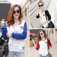 9801#2014 women's autumn new baseball uniform cardigan hit color mosaic long sleeved casual short section of small coat
