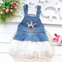 Free shipping 2014 new summer kids clothing summer  baby girl child crown hem. Denim Dress A299