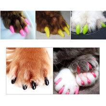 20 pz molle dell'animale domestico del gatto nail caps artiglio di controllo paws off + colla adesiva taglia xs s m l(China (Mainland))