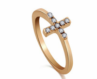 Free shipping Wholesale 2 pcs/lot simple rings fashion exquisite rhinestone cross ring R478