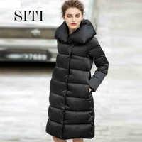 2014 Winter Thicken Warm Woman Down jacket Coat Parkas Outerweat Slim Mid Plus Long Cold Luxury Brand Black 2XXL