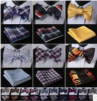 Plaid 100%Silk Jacquard Woven Men Butterfly Bow Tie Pocket Square Handkerchief Suit Set