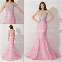 Vestido De Festa 2014 Sheer Sweetheart Neck Pink Evening Dress Long Beading Mermaid Prom Dresses Custom Made BZP0414