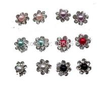 Fashion Mix Imitation Pearl inlay Rhinestone Hypoallergenic Plastic Flowers Charm Statement Stud Earrings 30 Pairs  Jewelry X672