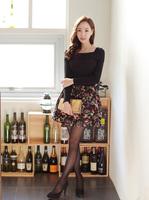The new render dress, knitting printing splicing dress Long sleeve off two night dress
