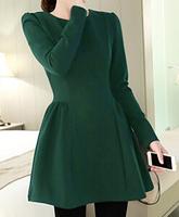 Free shipping 2015 new  Korean version of the fall fashion high temperament was thin long-sleeved dress Puff  QZ1233