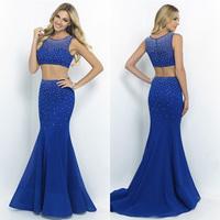 Elegant Royal Blue Mermaid Evening Dress Long 2 Pieces Beaded Tank Top Prom Dress 2015 New Arrival Vestidos De Noche TD052
