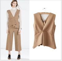 Spring Autumen Brand New Fashion Ladies  Solid Color V Neck Bottom Ruffles Vest Waistcoat Women's Brief  Vest