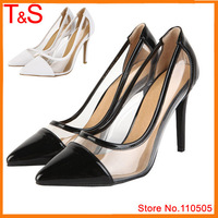 2015 New Novelty Pointed Toe High Heels Transparent Natural Genuine Leather Pumps Dress Real Leather Shoes 4900B