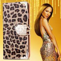 Hot Luxury Leopard Pattern Leather Flip Case for Apple iphone 6 4.7 Glitter Diamond Button Cover Wallet Pouch Card Holder Women