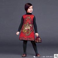 Europe and America Wlmons**n brand girls dress thick position jacquard skirt children dress