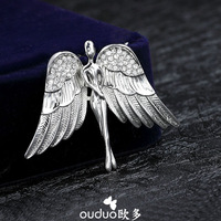 Free Ship Ouduo Quality Angle Male Brooch Rhinestone Corsage Sweater Cardigan Pin Suit Vintage Badge Gift Jewelry Accessories