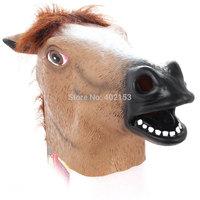 New Horse Head Mask Latex Animal Costume Dark Brown#200549