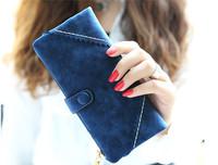 2015 New Korean Style Long Women Wallet Messaenger bags Handbag Retro Dull Polish Purse Multi-Function carteira feminina AA004