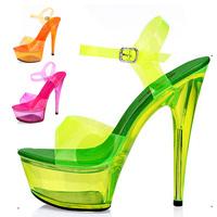 Free Shipping 2015 Sexy Wild Women's Fashion Neon Platform ultra High Heels open toe Sandals Latest fashion Party wedding pumps