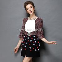 Fashion plus size 2014 autumn and winter medium-long beading half-sleeve o-neck slim one-piece dress xl,xxl,xxxl,xxxxl,xxxxxl