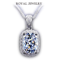 Wholesale 2ct  Princess cut Carat synthetic Diamond Pendant white gold plated Wedding Necklace for wedding pendant for women