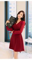 High quality 2015 fashion spring autumn women dresses Ruffles deep v-neck chiffon lantern sleeve bow Slim brand Dress clothing
