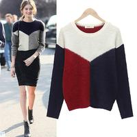 Knitted Cardigans Sweaters 2014 Women Fashion Patchwork Black Gray Long Cardigan Women Sweaters Winter Cardigans LJ284DB