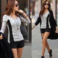 Sexy Fashion Women's Cotton O-Neck Tops Long Sleeve Shirt Casual Blouse