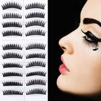 10Pairs False Eyelashes Long Upper Thick Handmade Fake Eyelash Lashes Makeup