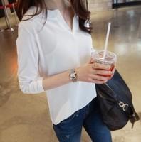 2015 new long-sleeved V-neck shirt women chiffon blouse shirt black, white Blouses & Shirts
