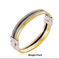 High Quality Four Colors With Rhinestone CZ Black Ceramic Gold Plated Stainless Steel Bangle