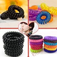 50pcs/lot S120-S121 Wholesale New Mixed Colors Random or Black Telephone Line Hair Bands Elastic Bobbles Ponioes 5.0cm