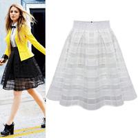 FreeShipping Women High Waist Chiffon Slim Skirt Princess Ladies Organza Pleated Skirt