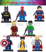 8pcs/lot. Super Heroes Avengers Iron Man Hulk Batman Thor Building Blocks Set Minifigure Bricks Toys Compatible With Le go block
