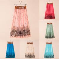 FreeShipping Vintage Women Double Layer Chiffon Pleated Long Maxi Skirt Elastic Waist Skirt