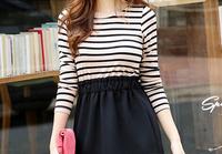 1 piece 2014 Brand New  stripe women hip package blouses full Sleeve dress tank Fashion Floral Blouses Vest shirts Plus Sizes