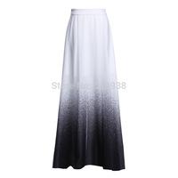2015 new spring summer women vintage fashion runway brand slit long skirt floor length maxi sexy dots print a-line skirts