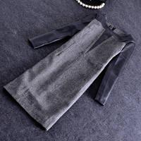 Free shipping Wholesale 2014 Dongkuan bottoming woolen dress round neck PU stitching Slim temperament Shunv Bao hip