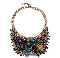 European Charm Jewelry Fashion Accessories Woven Resin Droplets Tassel Flower Bubble Necklace & Pendant Women 9821