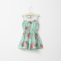 hot sale summer girl kids sleeveless floral dress lace chest