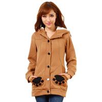 Winter/autumn new women fashion thicken cotton cartoon bear claw cute hoodie with hat women casual hoody sweatshirt M-XL T4D916