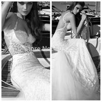 DWD25 Galia Lahav Style Chapel Train Sleeveless Lace 2015 See Through Wedding Dress