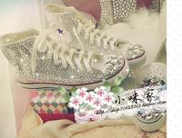 Plus size Luxury fashion shoes women diamond hand-made canvas sneakers crystal rhinestone women sport shoes DIY sneaker shoes