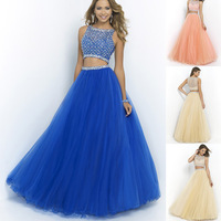 Two Pieces Royal Blue Long Evening Dress Beaded A-Line Tulle Peach Prom Dress 2015 New Girls Long Graduation Dress TD053