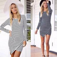 2015 Trendy Long sleeve Hip T-shirt OL Women Dress Sexy Irregular White and Black Striped Slim Mini Casual Working Dress Tonsee