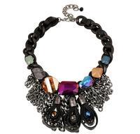 European Charm Jewelry Fashion Accessories Leather Chain Tassel  Flower Bubble Necklace & Pendant Women 9822