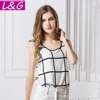 L&G Fashion 2014 Women Blouses Casual Plaid Print Chiffon Blouse Tropical Blusas Femininas Shirts Tops Cheap Clothes China 40185