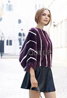 Fashion Women's Luxury Natural Genuine Mink Fur Coat Jacket Female Fur Outerwear Bat Garment Half Sleeve QD80196