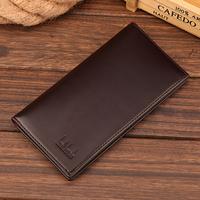 Brand New 2015 Fashion Men Wallets long Classic Soild Pattern Designer Wallet Leather Purse Brown/Black credit card case