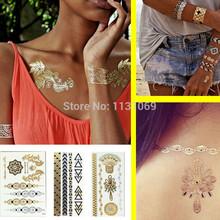 Hot Sale 3Styles/Lot Tatuagem Temporary Tattoo Lot Flash Tatoo Metallic Tatoos Jewelry Gold Henna Metal Tattoos Body Paint Taty