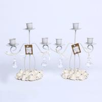 GAGA ! 3-light iron  beige stain handmade flowers candle holders wedding candlestick 10 pcs/lot , XA100-2