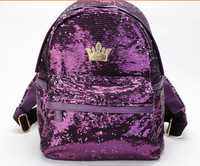 2015 New Fashion New Women's Hot Preppy Style  Crown Unisex PU leather Backpack Bag Shoulder Bag Small Big drop Shipping D283