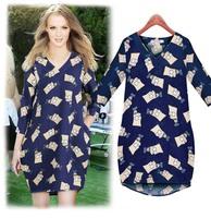 women print dresses 2015 spring fashion new European big size women loose casual cartoon was thin dress LJ283LMX free shipping